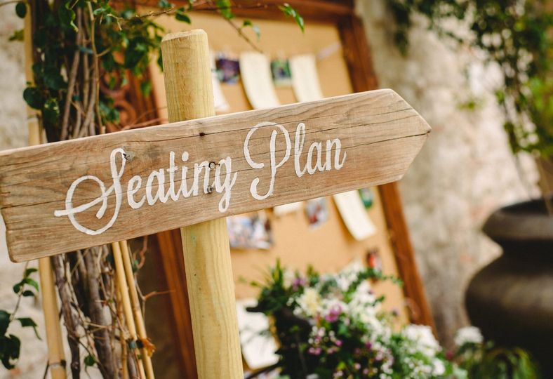 Wood seating sign