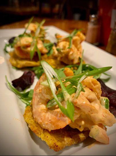 Caribbean shrimp on tostones