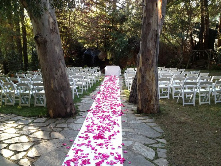 A beautiful wedding set-up at Calamingos Ranch in Malibu. We set up on the far right out-of-site and...