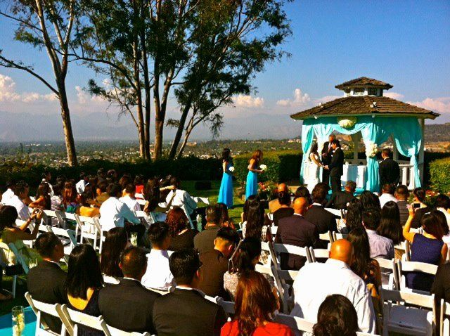 Cristy and Michael's beautiful sunset wedding at Pacific Palms. We set up to the side and back of...