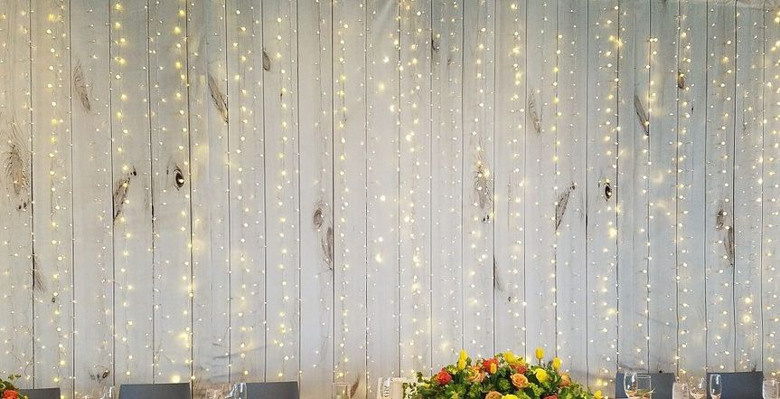 Barn wood light wall. for headtable,or a stunning backdrop for dance floor.