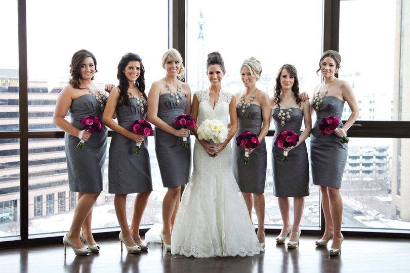 The bridesmaids bouquets brought in that punch of color