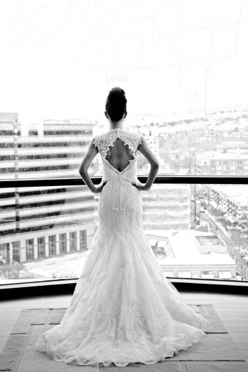 Beautiful bride! Overlooking downtown Boise cityscape.