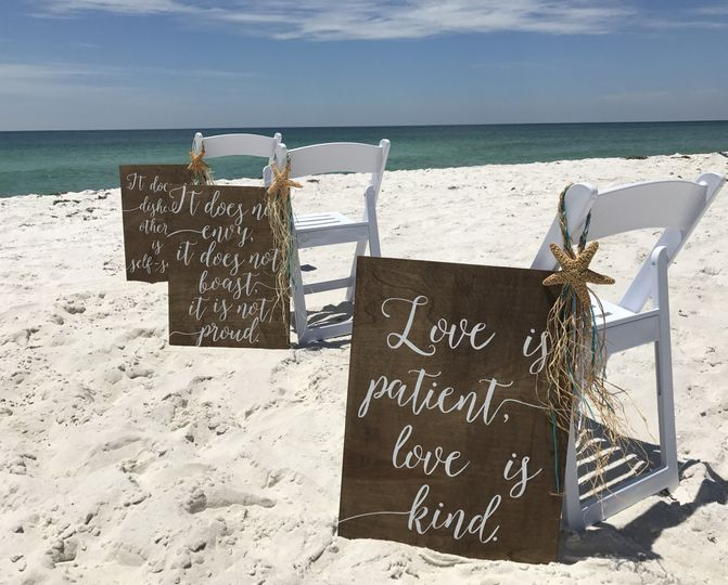 Signboards at the beach wedding