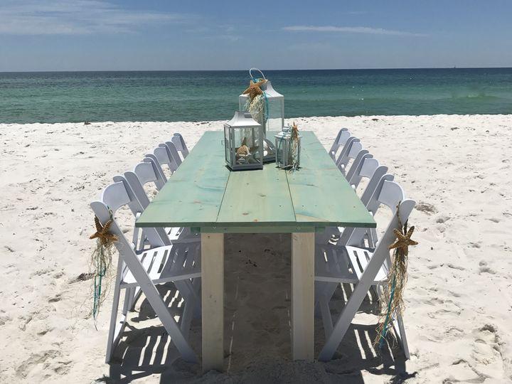 Beachfront reception table
