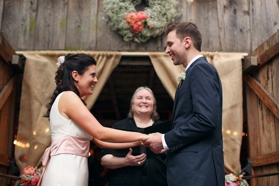 McMenamins Cornelius Pass Roadhouse wedding in the octagon barn, with Rev. Maureen Haley, Bryan Rupp...