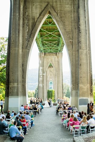 Cathedral Park wedding with Rev. Maureen Haley, Portland Oregon, Powers Photography photo thanks!