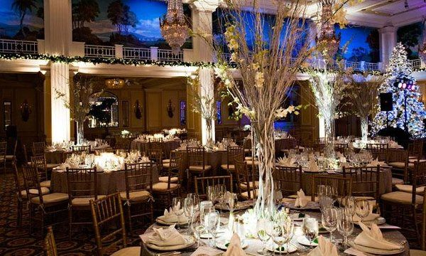 Wedding reception with formal seating and dancing to celebrate New Year's Eve
