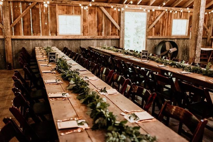 Long tables with garlands