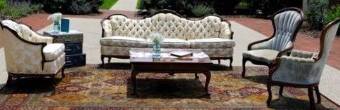 ivory couch with matching chair with two lt blue o