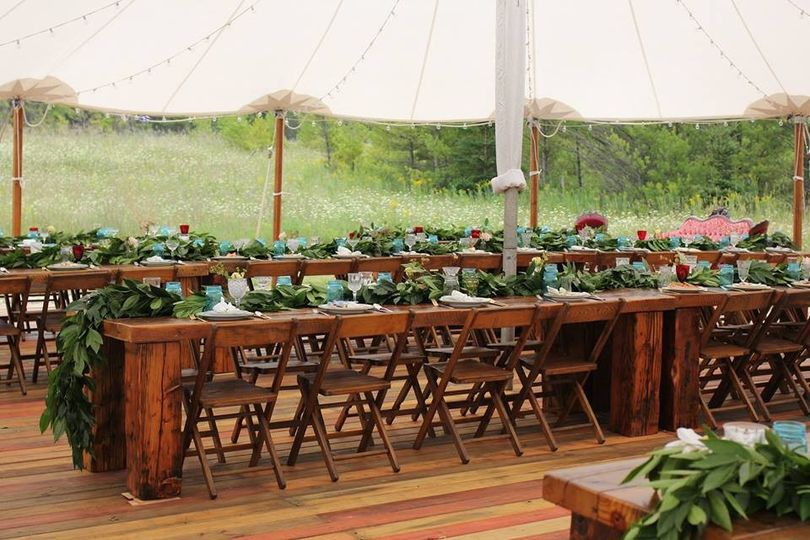 barn wood dinning tables wedding ceremony tent 3