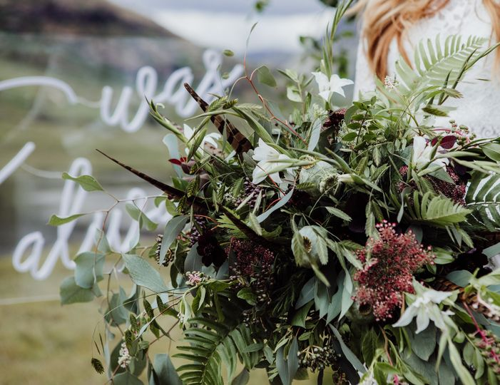 Fern and snowberry bouquet