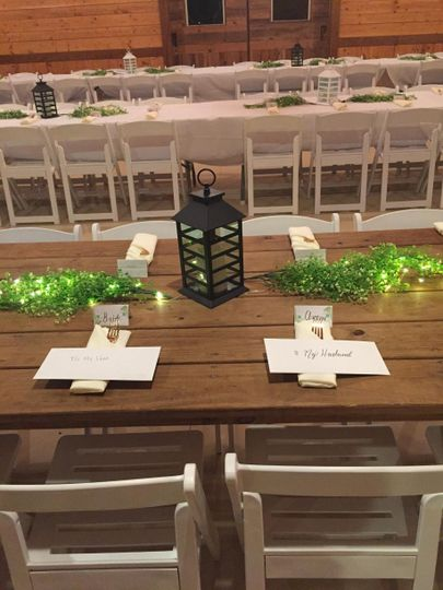 Bride and groom place settings
