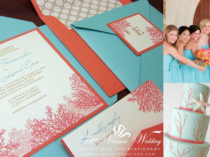 Tmx 1465496759965 Wedcoralturqenvelofldblog Chula Vista wedding invitation