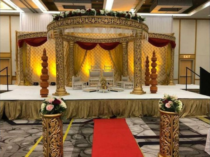 Tmx Gold Carved Mandap With Round Mandap Topper 51 1061543 160523258286575 Towson, MD wedding eventproduction