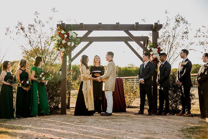 Wedding outside under an arch