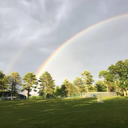 Rainbow over the tennis courts
