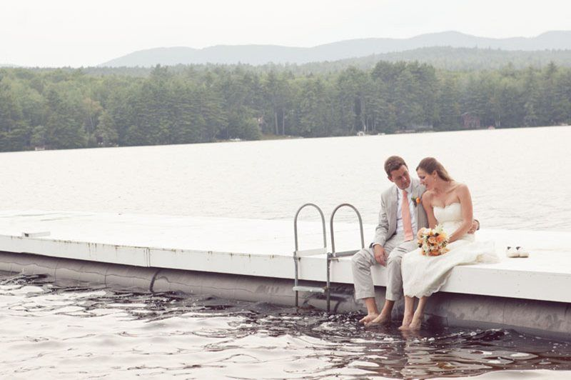 Romantic moment on the dock