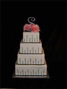 4-Tier Fondant with Charcoal Bubbles