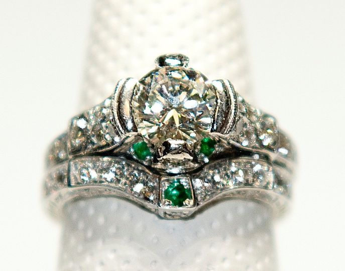 14K WG diamond and emerald Custom wedding band to perfectly match a customer's engagement ring.