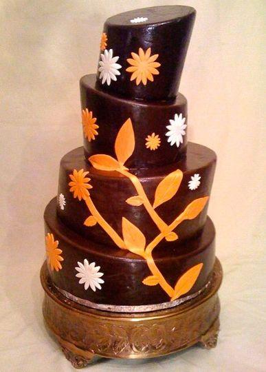 Chocolate topsy-turvy wedding cake