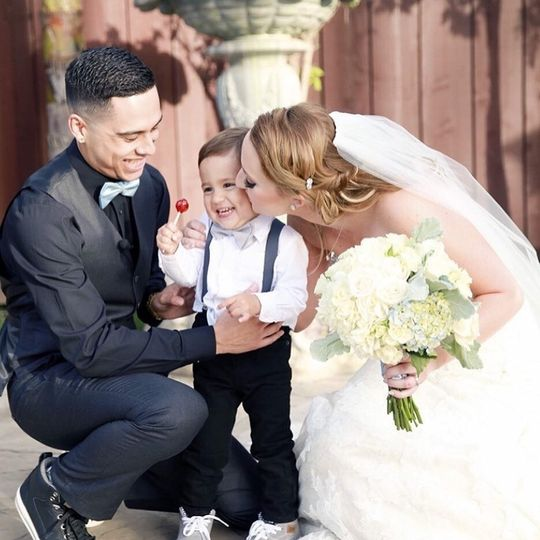 Newlyweds and the little boy