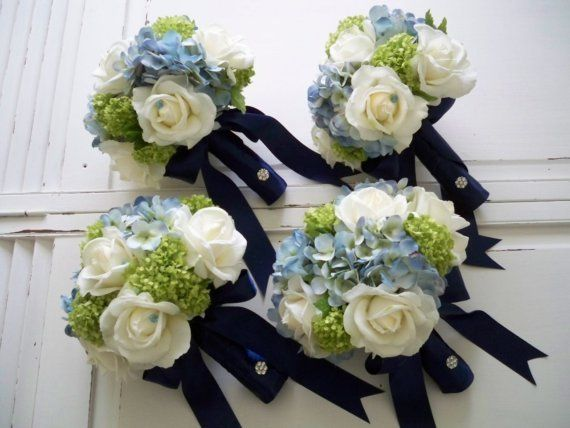 Classic bridal bouquet set made of cream/white realtouch roses wrapped in navy blue satin.