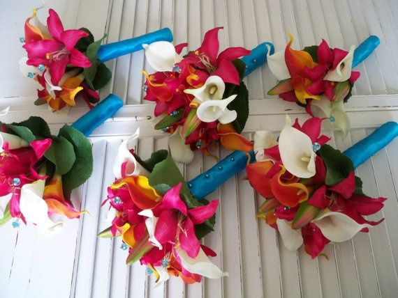Malibu Beach Calla Lily Bridal Bouquet Set