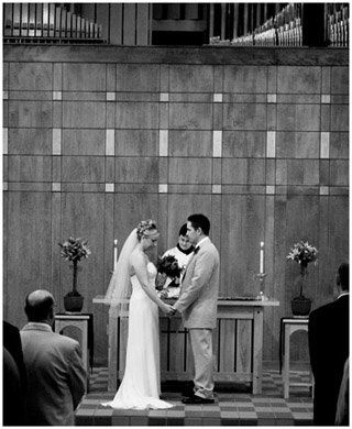"""A quiet couple just about to say """"I Do""""."""