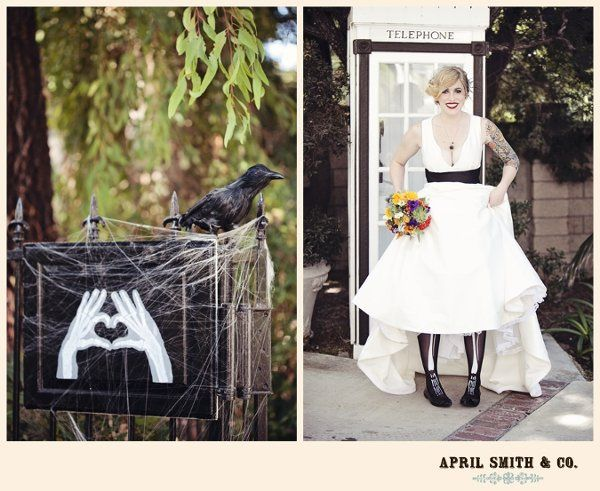 "This is Kristen and she had a Hallowedding that was a blast! The ""heart"" skeleton hand painting was..."