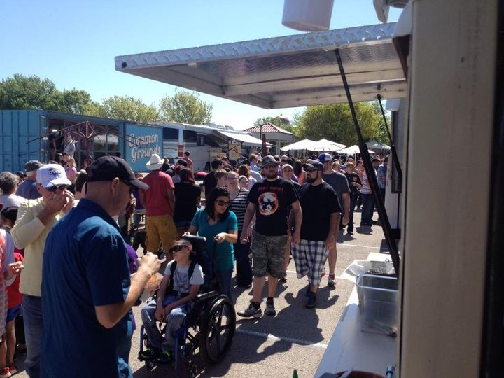 Masses on line for our Fried Avocado Taco sample in Waco!