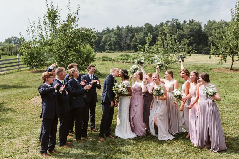 Wedding party in the orchard