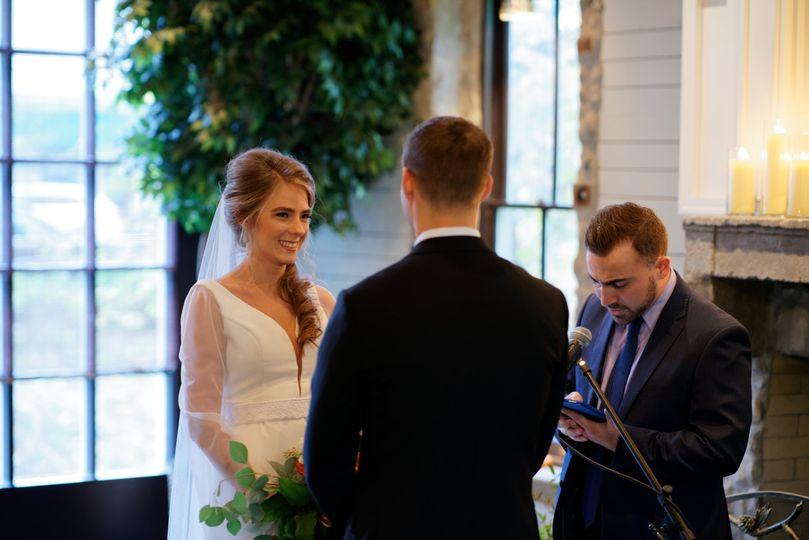 A couple exchange vows