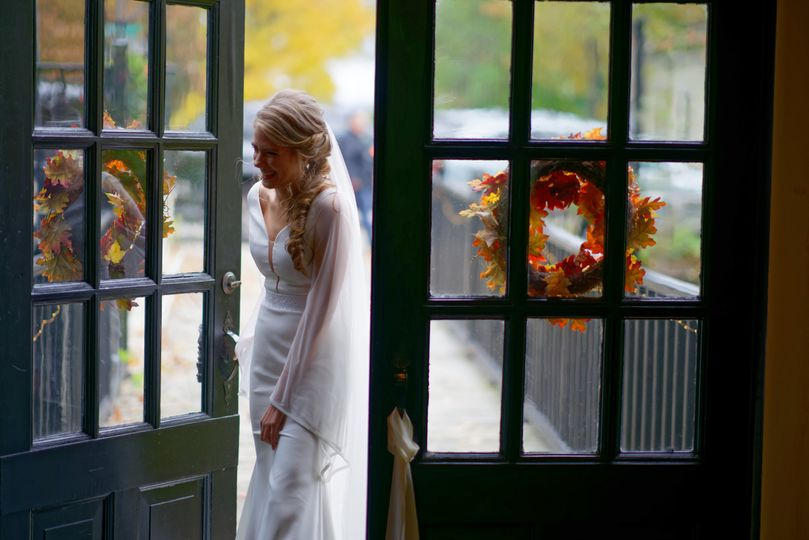 The bride pokes her head inside