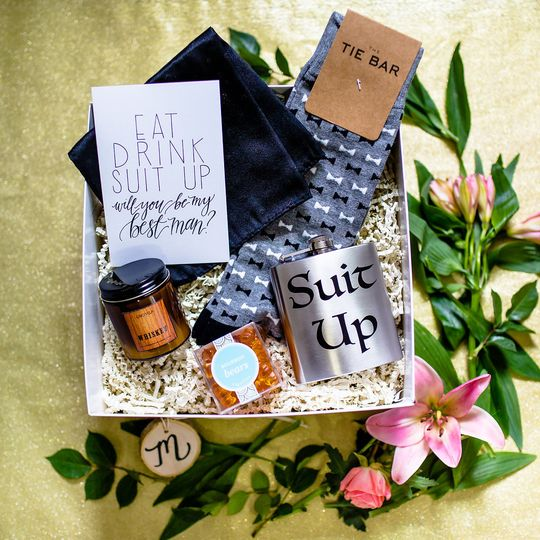 Groomsman proposal gift box10% of box profits will be donated to Wish Upon a Wedding.