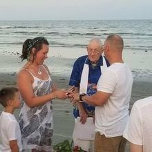 Sunset wedding on the beach, the end of a perfect day