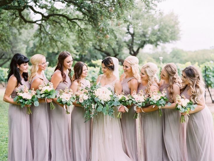 A glowing bridal party