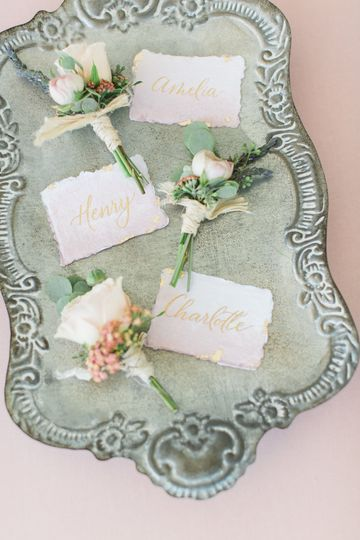 Hand painted ombre blush pink and gold calligraphy place cards.
