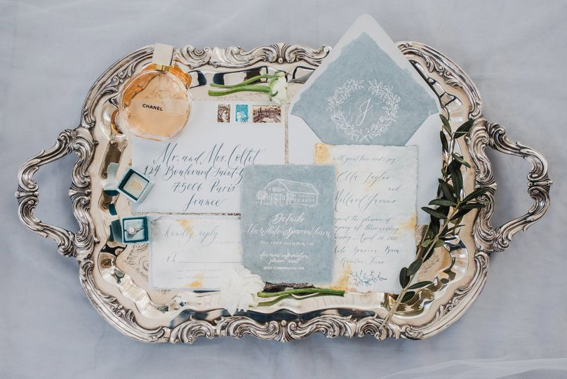French inspired wedding invitation suite printed on handmade cotton paper with watercolor washes and...