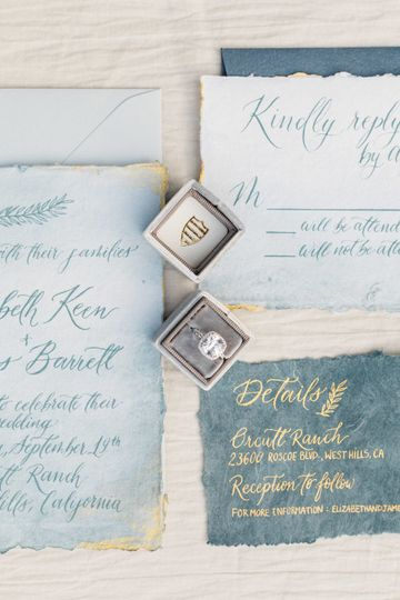 Blue and gold invitation suite with custom handmade paper, hand painted watercolor washes and gold...