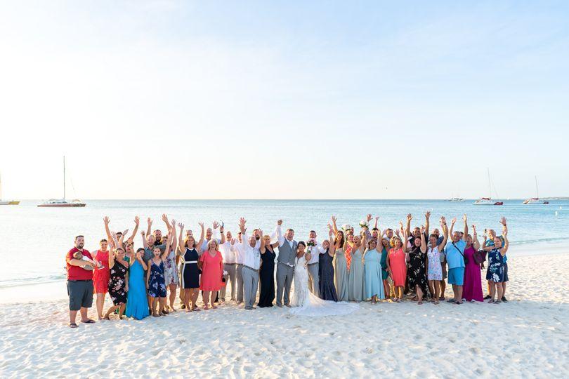 Wedding group on the beach