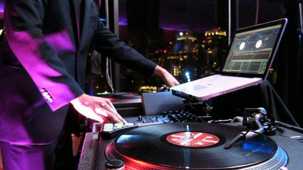 A close up of DJ Jeff Hudson's setup.