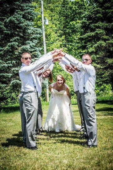 The bride with groomsmen