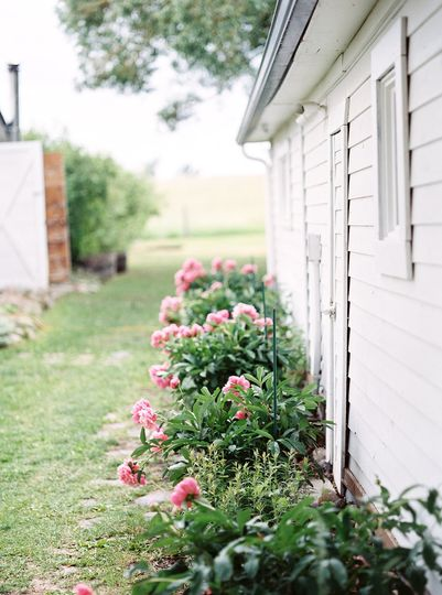 Flowerbeds and white walls