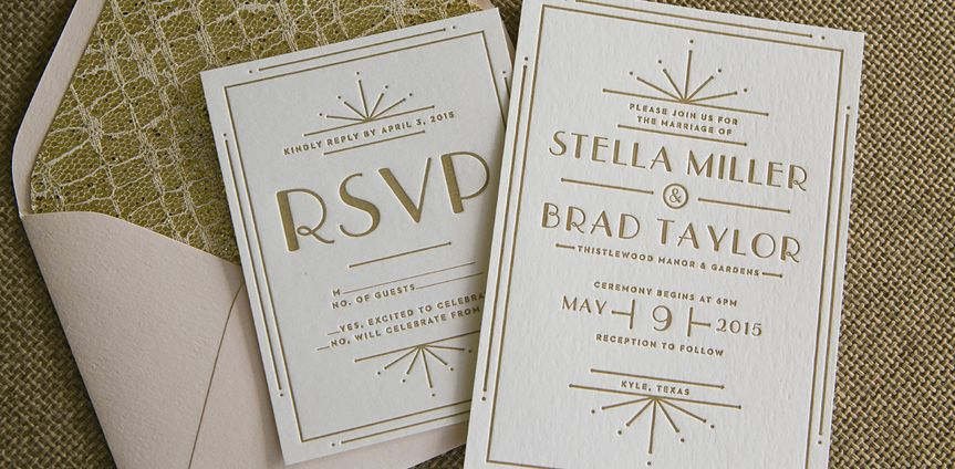 art deco letterpress wedding invitation gold
