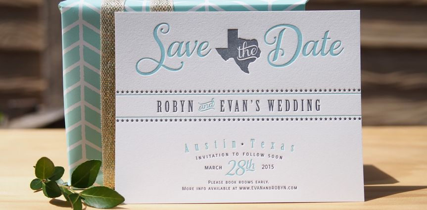 letterpress save the date texas stars