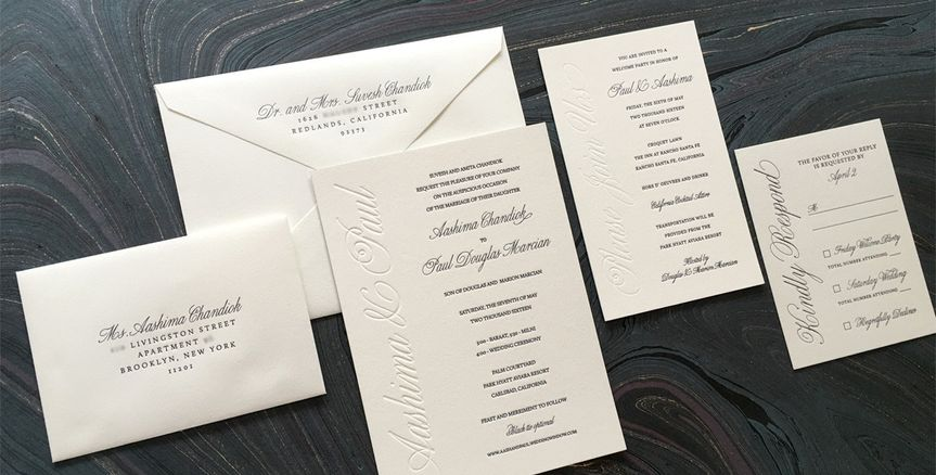 letterpress wedding invitation aash1