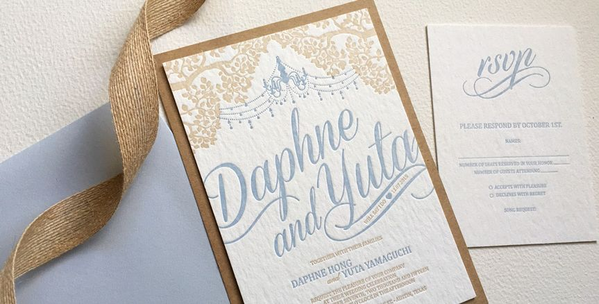 letterpress wedding invitation blue kraft 1