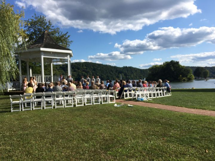 Outdoor wedding by the lake