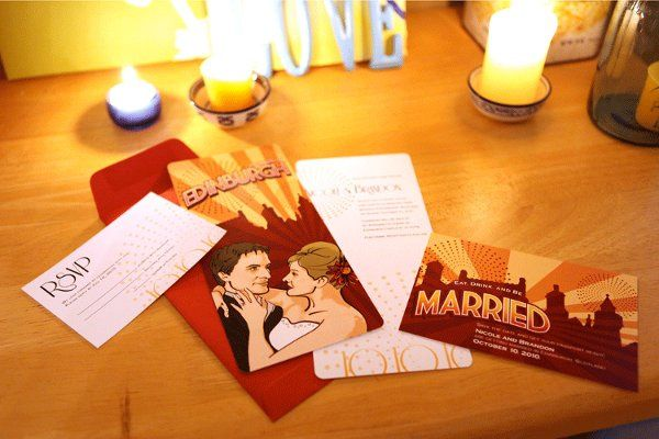 Invitation set for destination wedding in Scotland. A custom illustration was done of the couple to...